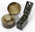 122588 ENGLISH LEATHER  BRASS TRAVELING INK WELLS