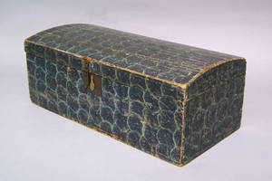 Painted pine dome lid lock box 19th c