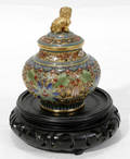 120585 CHINESE CHAMPLEVE COVERED JAR H 3 12