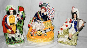 120563 STAFFORDSHIRE STYLE PORCELAIN FIGURAL GROUPS