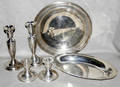 112522 STERLING GROUP CANDLESTICKS  TRAYS