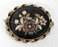 111683 GOLD FILLED MOSAIC BROOCH W FLORAL MOTIF