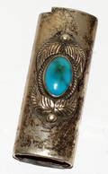 121626 STERLING SILVER  TURQUOISE LIGHTER COVER