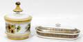 121611 IRONSTONE COVERED DISH FLORENTINE COVERED JAR