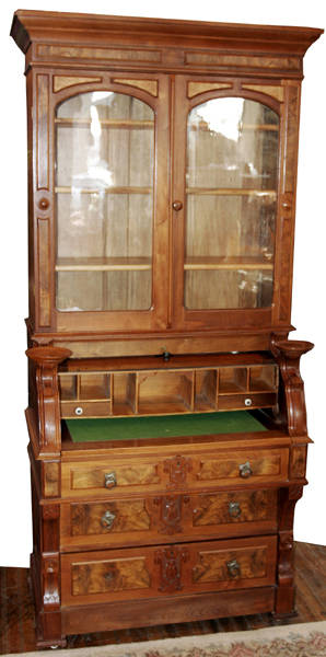 11002 VICTORIAN WALNUT CYLINDERFRONT SECRETARY DESK