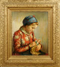 121007 I RAFAY OIL ON CANVAS YOUNG GIRL W DOLL