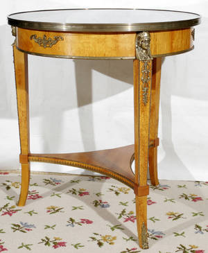 121062 FRENCH EMPIRE STYLE TABLE W MARBLE TOP