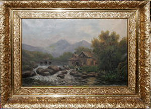 121058 OIL ON CANVAS RIVER SCENE W MOUNTAINS