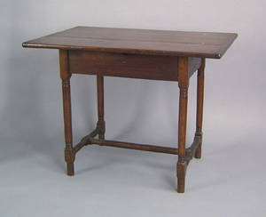 New England pine and birch tavern table early 19th c