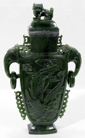 120029 CHINESE CARVED SPINACH JADE COVERED URN