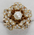 120052 1 CT DIAMOND CULTURED PEARL  14K GOLD RING