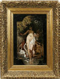 112030 E ALUGER OIL ON WOOD PANEL LEDA  THE SWAN