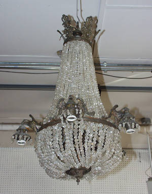 111028 FRENCH BRONZE ELEVENLIGHT CHANDELIER