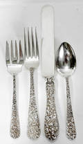 110006 STIEFF REPOUSSE STERLING FLATWARE SET