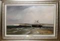 102009 GEORGE BONFIELD OIL ON CANVAS STRANDED SHIP