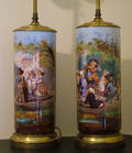 102059 HAND PAINTED PORCELAIN VASES AS TABLE LAMPS