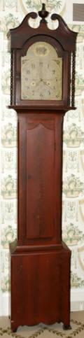 102049 MAHOGANY TALL CASE CLOCK S THOMAS PLYMOUTH