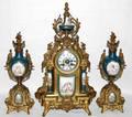 101026 GILT METAL  SEVRES PORCELAIN CLOCK GARNITURE