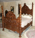092063 CARVED FOUR POST BED POSTS W PUTTI CREST