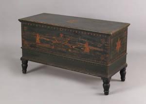 Mahantongo Valley Pennsylvania painted pine dower chest ca 18351840