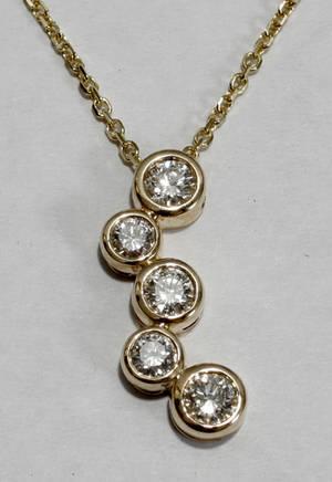 091003 TIFFANY STYLE DIAMOND  YELLOW GOLD NECKLACE