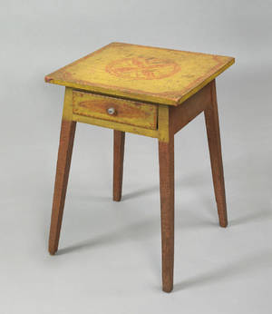 Pennsylvania painted poplar and pine one drawer stand ca 1820