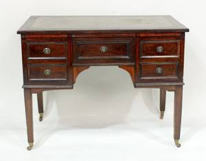 19th C Mahogany  Leather Top Desk