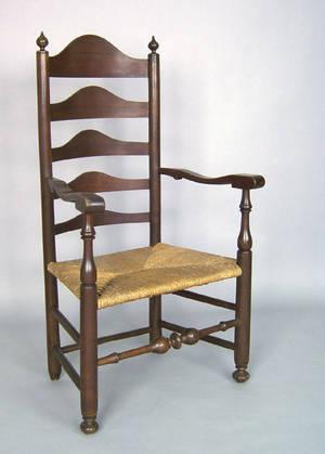 Pennsylvania maple ladderback armchair late 18th c