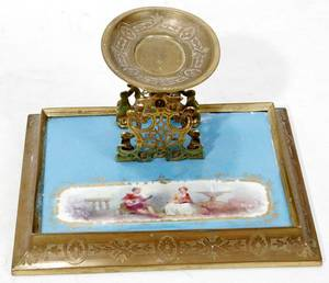 061073 SEVRES PORCELAIN  GILT BRONZE INK STAND