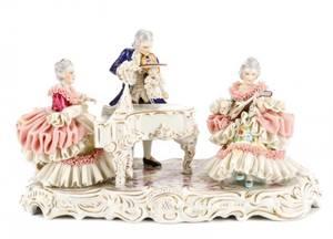 Volkstedt Porcelain Dresden Lace Figural Group
