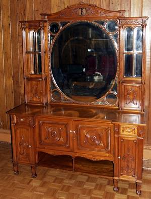 021152 FRENCH ART NOUVEAU MAHOGANY CABINET H 80