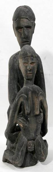 021149 AFRICAN CARVED WOOD BIRTHING SCULPTURE KENYA