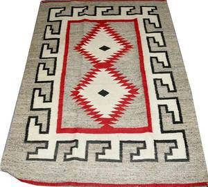 021148 NATIVE AMERICAN INDIAN WOVEN RUG 54x3 10