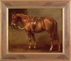 Oil on canvas horse portrait late 19th c