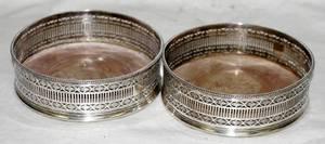 031156 SHEFFIELD PLATE WINE COASTERS DIA 5