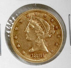 020085 US CORONET DOUBLE DATE 5 GOLD COIN 1881