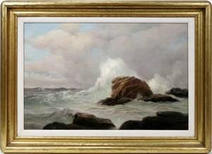 062083 WARREN W SHEPPARD OIL ON CANVAS SEASCAPE