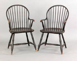 Pair of Pennsylvania bowback windsor armchairs ca 1810