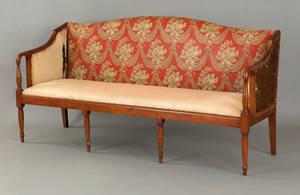New England Sheraton tiger maple sofa ca 1820