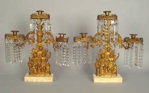Pair of Philadelphia gilt metal candelabra ca 1850