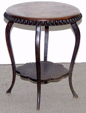 020159 OAK ROUND PARLOR TABLE C1900 H 29 DIA 25