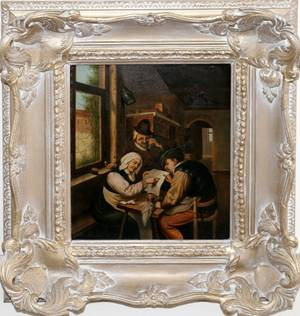 062104 GERMAN OLD MASTER STYLE PAINTING ON TIN