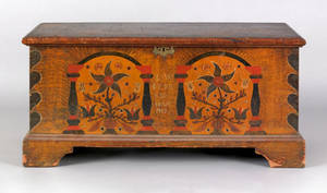 Berks County Pennsylvania painted pine dower chest dated 1798