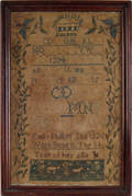 American silk on linen sampler dated 1826 wrought by Emily Phillips