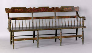 Pennsylvania painted deacons bench 19th c