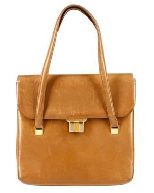 Vintage 1950s60s Brown Leather Gucci Handbag