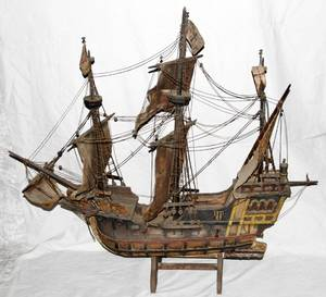 050141 GERMAN WOOD MODEL SAILING SHIP SANTA MARIA