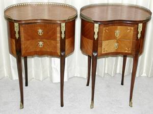 042119 LOUIS XV STYLE WALNUT  SATINWOOD COMMODES