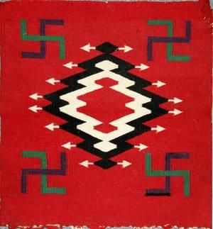 041296 AMERICAN INDIAN HANDWOVEN WOOL MAT 19x18