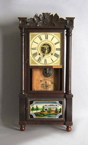 Connecticut late Federal mahogany mantle clock by Birge